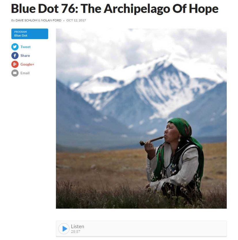 Blue Dot 76, Interview with Gleb Raygorodetsky, author of Archipelago of Hope