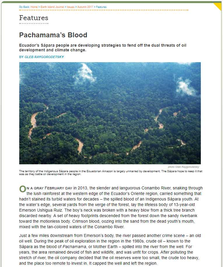 Earth Island Journal, Pachamama's Blood, Excerpt